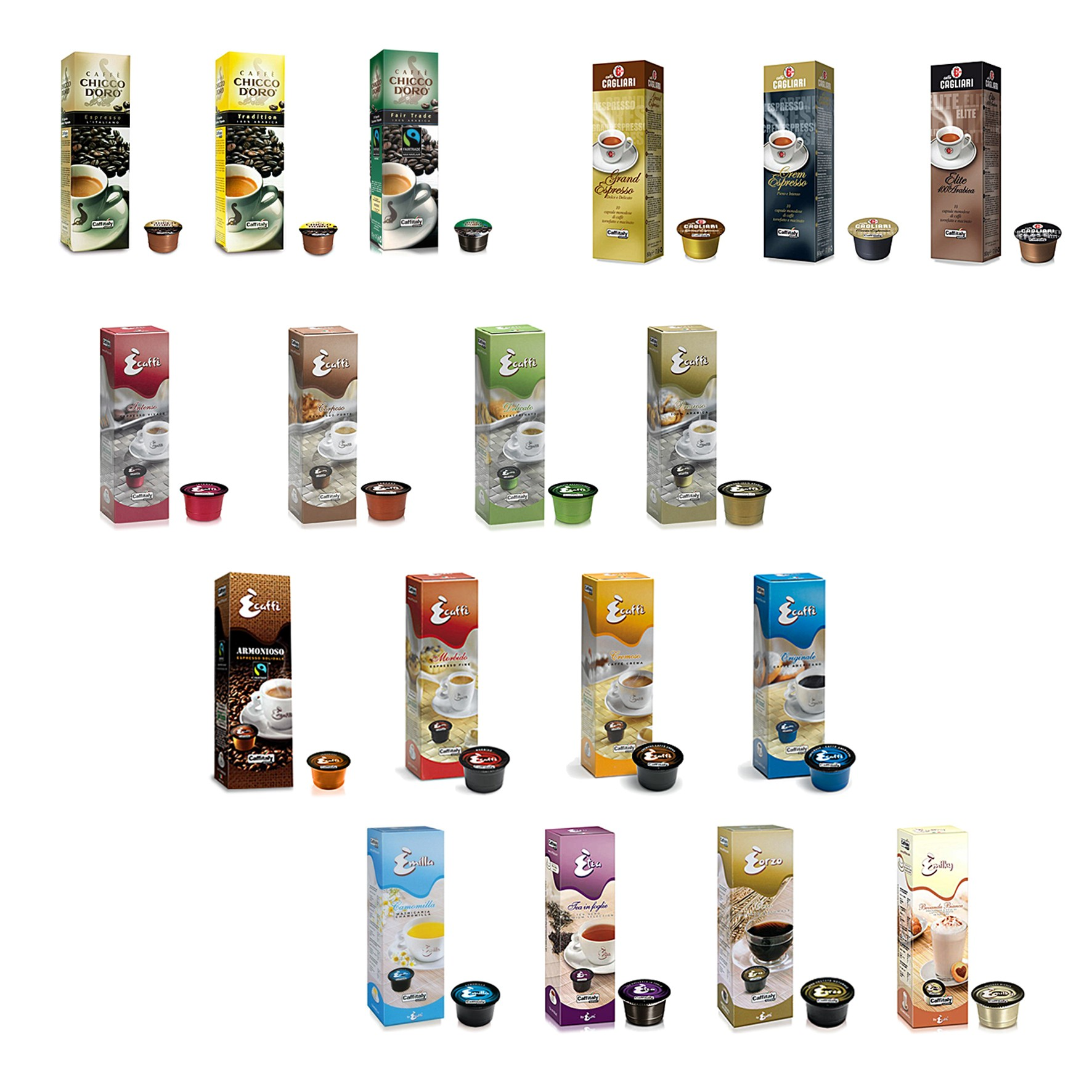 250 Coffee Capsules Caffitaly System Original Choose Your Flavors